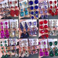Pendientes colgantes de diamantes de imitación coloridos Bohemia larga Europa Estados Unidos taladro de vidrio retro temperamento Joyería de boda para regalo de mujer