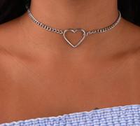 Coração oco Gargantilha Colares Para As Mulheres Clavícula Colar Declaração Colar Collares Coração Dainty Pingente de Colar de Presente