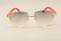 Gafas de sol de moda de lujo directas de fábrica 3524014-D gafas de sol de madera rojas naturales gafas de sol lente de grabado, personalizado privado, nombre grabado