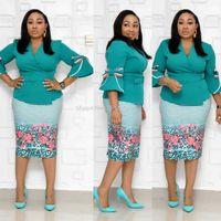Sonbahar Ofisi Bayanlar Pembe Sweet Parti Vintage Zarif Kadın Midi Elbiseler BODYCON Falbala Kemer Afrika Retro Moda Elbise yazdır