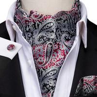 Snelle verzending Ascot Mannen Klassieke Rode Zwarte Paisley Cravat Vintage Ascot Zakdoek Cuffflinks Cravat Set voor Heren Bruiloft AS-1003