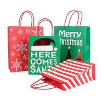 ورقة هدية عيد الميلاد حقيبة مع مقبض أحمر أخضر ورق كرافت أكياس الشريط ندفة الثلج طباعة هدية عيد الميلاد ورقة حقيبة حلويات كاندي الحقيبة DBC VT1109