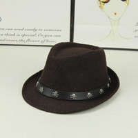 New Unisex Wool Skull Jazz Church Hat With Leather Wide Brim...