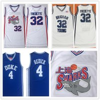 Brigham Young NCAA Uomo 32 Jimmer Fredette Shanghai Sharks Duke Blue Devils 4 JJ Reddick Bianco Blu College di Pallacanestro Jersey ricamati Patch