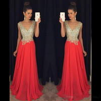 Sparkly Prom Dresses Bling Major Beading V Neck Sleeveless B...