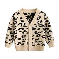 Bambino Bambino maglione leopardo ragazzo dei bambini Cardigan inverno Ragazze Maglione fatto a maglia il cappotto Infant abiti firmati Boutique Abbigliamento bambino DW4732