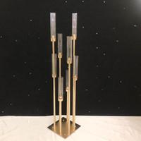 I titolari Fiori Vasi candela Strada controfigura principale centro tavola in metallo color oro pilastro Candeliere Per Wedding Candelabra G04902