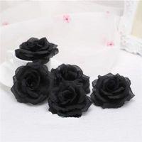 웨딩 자동차 장식 발렌타인 데이 선물 DIY 로즈 곰 가짜 꽃 플로레스에 대한 원피스 8cm 블랙 인공 장미 꽃 머리