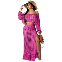 Kadınlar Yaz Günlük Elbise Mesh Izgara See rağmen Püskül Kapalı Omuz Mahsul Üst Yan Bölünmüş Maxi etekler İki Adet Plaj Seti Uzun Elbise