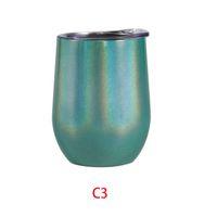 Fedex 12 Unzen Regenbogen Wine Tumbler eiförmiger Stemless Tumbler Double Wall Edelstahl-Trommel 12 OZ Weinglas Portable mit Deckel