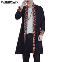 En gros Hommes Long Outwear Trench Floral Patchwork Cardigan Hommes À Manches Longues Automne Casual Chinois Style Manteau Manteau Hombre 2018