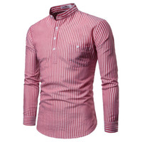 2019 New Striped Long Sleeves Mens Dress Shirts Camisa Mascu...