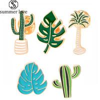 Fashion Dessin animé Cactus Broches Mignon Mini Plante Pot Enamel Pour Femmes Vestes Denim Vestes Revers Chapeau Badges Kid Bijoux Accessoires