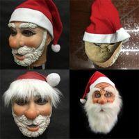패션 레드 재미 코스프레 산타 클로스 모자 축제는 고무 풀 페이스 마스크 메리 크리스마스 선물 용품이 쉽게 사용 48lx 마스크