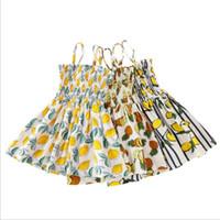 아기 소녀 드레스 아이들 여름 과일 Strapless 드레스 망고 파인애플 레몬 드레스 콘솔 벨트 Strapless 드레스 공주 Sundress B7529