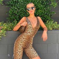 Frauen Overalls Strampler Simenual Leopard V-Ausschnitt Fitness Biker Playsuits Sleeveless Sexy Fashion Womens Skinny Sommer Slim Playsuit
