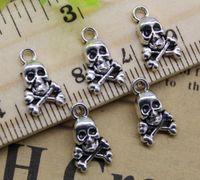 Groothandel 100 stks Ghost Skull legering charms hanger retro sieraden maken DIY sleutelhanger oude zilveren hanger voor armband oorbellen 13x8mm