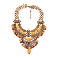 Vintage Chunky Collier ras du cou Bijoux fantaisie gothique avec des perles de cristal strass pour les femmes 5 couleurs 1 Pc