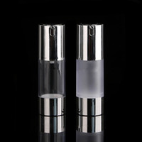 Airless Pump Bottle 15ml 30ml 50ml Silver Cosmetic Liquid Cr...