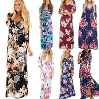 Long Sleeve Floral Dress 16 Styles Women Summer Boho Maxi Dr...