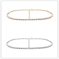 Modeschmuck Hochzeit Zubehör Eine Reihe Strass Choker Halskette für Frauen Temperament Kragen mujer Halskette Geburtstagsgeschenk