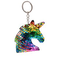 Unicorn Head Shape Bling Shiny Sequins Key Chain Promotion C...