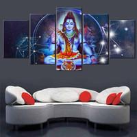 Холст HD принты живопись гостиная стены искусства 5 шт. индуистский Господь модульный декор дома плакат Шива и бык Нанди фотографии