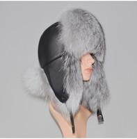 Cappello Inverno Genuine Vera Pelliccia di Volpe Unisex 100% Naturale Vera Pelle Cap Casual Calda Russia Pelliccia di volpe Bomber Protezioni per le orecchie