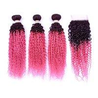 Silanda cheveux Haute Qualité Ombre 2 Couleur #T 1B / Rose Kinky Cheveux Curly Cheveux humains Tissu 3 Bundles de trame avec une fermeture de dentelle 4x4 Livraison gratuite