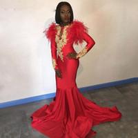 Africano vermelho 2k19 vestidos de baile de mangas compridas apliques de ouro penas cetim formal sereia vestido de noite preto mulheres vestidos de festa