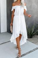 3-Farben-Frauen Kleider Normallack reizvolles Backless Unregelmäßige gekräuselte Ärmel weg vom Schulter-Kleid-beiläufigen Kleid-Sommer-Mode Temperament