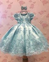 Kısa Kollu Backless Little ile Açık gök mavisi Dantel Çiçek Kız Elbise Kız Pageant Elbise Boncuklu ilk komünyonu Gowns prensler