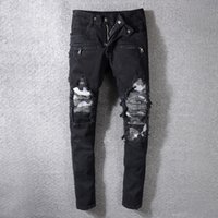 Fashion Streetwear Men Jeans Black Color Destroyed Ripped Je...