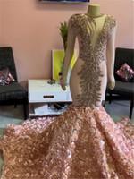 2020 erröten rosa meerjungfrau prom kleider luxus langen ärmel kristall perlen abendkleid sexy tiefe vutel 3d blumen formale parteikleid
