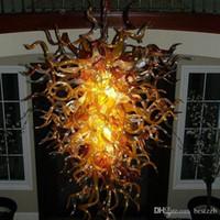 Vintage Loft Style Ремесленная муранского стекла освещение Люстра Bark Brown Teal LED люстры для кухни столовой комнаты Бар Прихожей