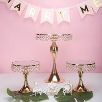 골드 크리스탈 케이크 스탠드 세트 금메달을 미러 테이블을 결혼 파티 테이블 캔디 바 테이블을 장식 전기 도금