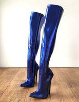 Botas de fetiche con punta puntiaguda sexy para mujer Botas de muslo sobre la rodilla de 18 cm Botas unisex de gran tamaño Sm Botines finos 2019