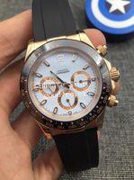 Luxe automatique Asie 2813 montre mécanique des hommes en or rose Cosmograph Montres Hommes 116515 Cristal Oysterflex bracelet en caoutchouc Montres-bracelets