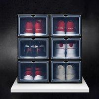 Ev Saklama Kutusu Kalınlaşmış çevirme ayakkabılar şeffaf siyah beyaz Organizatör kutu Çekmece Kasa Plastik Kutular istiflenebilir depolama 6 setleri Ayakkabı