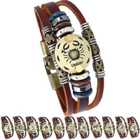 12 Sternzeichen Horoskop herren Lederarmband Vintage Retro Charme Armband Für frauen Modeschmuck Geschenke