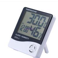 150pcs digital de la temperatura del LCD higrómetro humedad del reloj del termómetro del metro con el reloj de alarma Calendario HTC-1