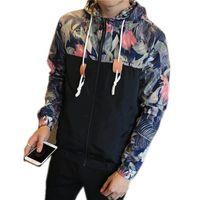 Men « S Veste Automne Veste Hommes fleurs Patchwork manteau à capuchon Slim Fit Mens mince Marque Vêtements Taille M-4XL