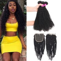 9A Remy Brazilian Kinky Curly Virgin Hair 3 Bundles With Clo...