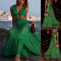 Artı boyutu 3XL Yaz Kadınlar Seksi Maxi Elbise Küçük delik Plaj Bohemian Kolsuz Resmi Halter Uzun SunDress See-through 2 Adet