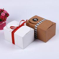 Caja de paquete de papel de papel Kraft Paquete de regalo de fiesta para galletas de galletas Panadería de jabón hecho a mano Dulces