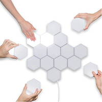 enchufe del sensor de bricolaje Quantum lámpara Light Touch modular hexagonal luz de la lámpara LED de la noche de los hexágonos magnética creativa decoración de la pared Lampara UK / AU