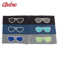 Geebro Plain Plain Hairbands Fashion Cotton Sunglasses Elastic Flat Headband For Girls Shine Strass Band per capelli