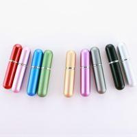 5 ml de Perfume Atomizador De Vidro Garrafa de Spray Recarregável Vazio de Plástico Portátil Mini Viagem Fragrância Cosméticos Recipientes Rodada Cabeça 9 Cores