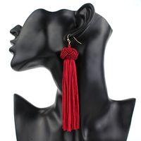 Bohemian ручной тканые длинные серьги моды китайский узел кисточкой серьги для женщин партии свадебный подарок ювелирных изделий