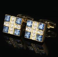 Gentleman Gemelos Camisa de cristal azul Camisa de oro para hombre Puños de enlace Gemelos de boda Gemelos de francés de negocios europeos y americanos
